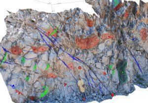 3D model i kartiranje setova diskontinuiteta u dijelu kamenoloma Perun kod Stobreča (izrađeno sustavom ShapeMetrix3D)