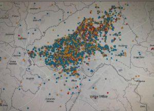 Prijavljena oštećenja u gradu Zagrebu (crveno jaka oštećenja, plavo manja oštećenja) izvor (Gdi-Grad Zagreb, 26.03.2020)