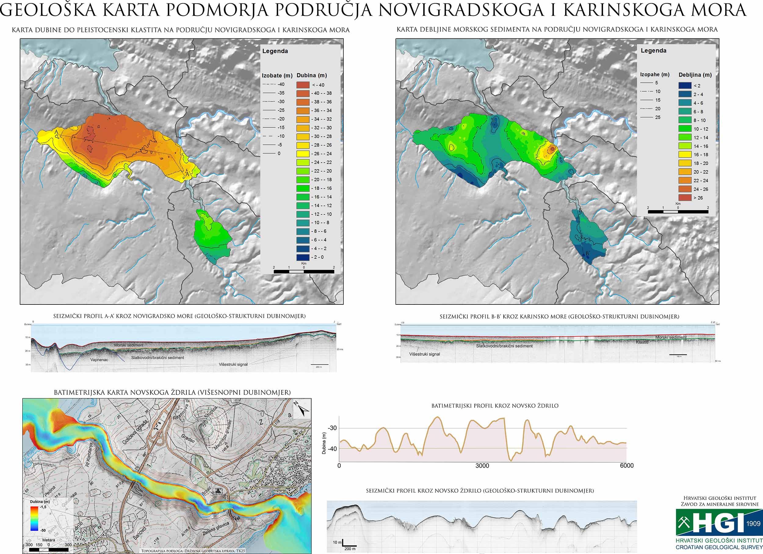 Geološka karta podmorja Novigradsko more