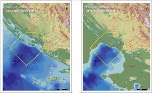 Područje istraživanja – obala prije 11000 godina Područje istraživanja – obala prije 20000 godina