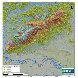Pregledna geološka karta šireg područja Medvednice prikazuje površinsku geološku građu i rasjede (crvene linije) od kojih su neki moguće seizmogeni u dubini. Izvor: http://webgis.hgi-cgs.hr/gk300/default.aspx