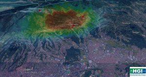 Prostorni prikaz površinskih deformacija dobivenih na osnovu inicijalne obrade radarskih podataka sa prikazanim epicentrima potresa trenutno dostupnih podataka; URL1:www.google.com (26.03.2020.)