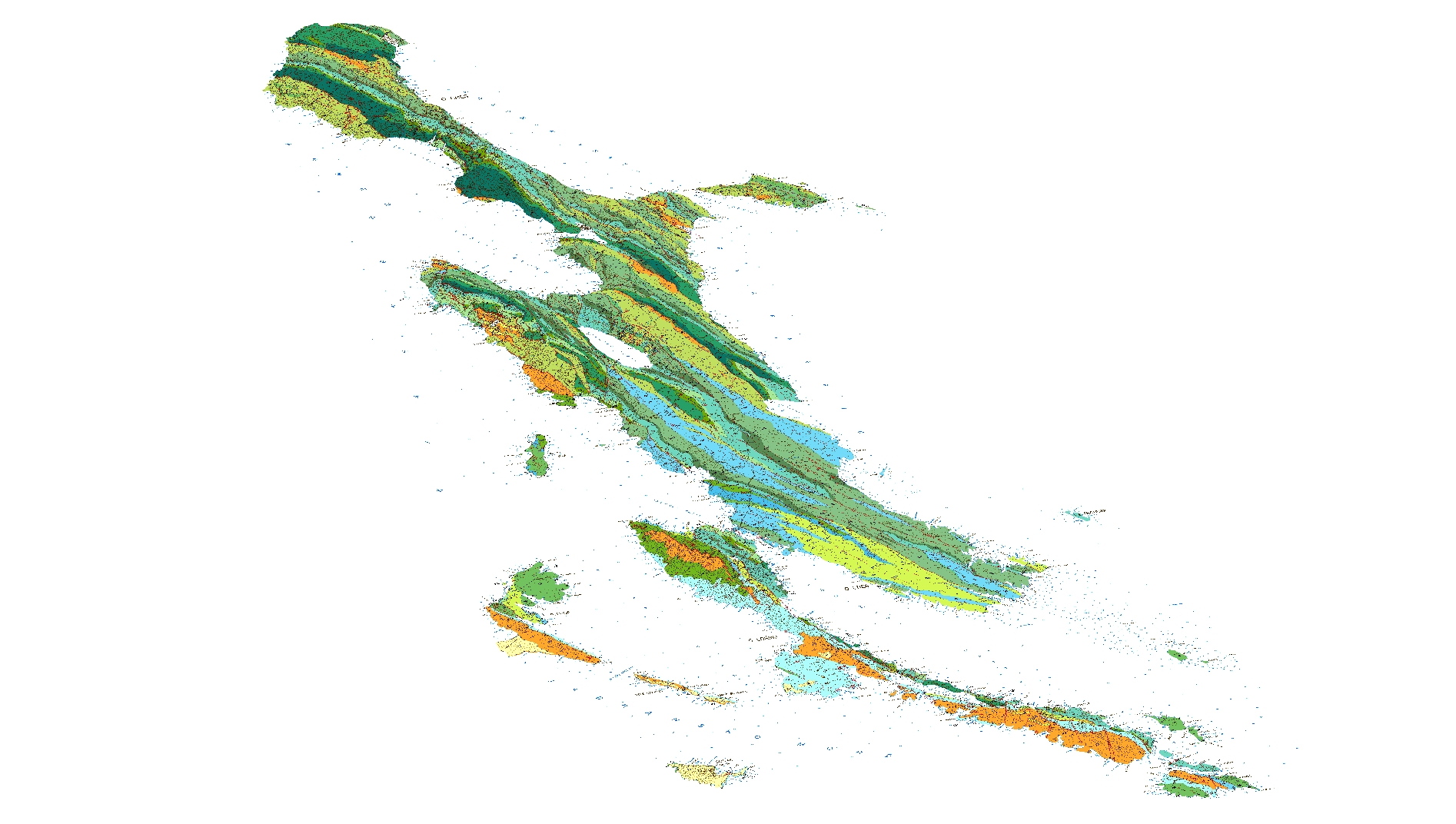 Panoramski reljefni prikaz geološke karte otoka Cresa i Lošinja.