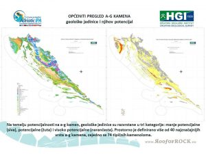 Pregledna geološka karta projektnog područja RH i karta potencijalnosti ag-kamena na projektnom području izrađene su u mjerilu 1:250000.