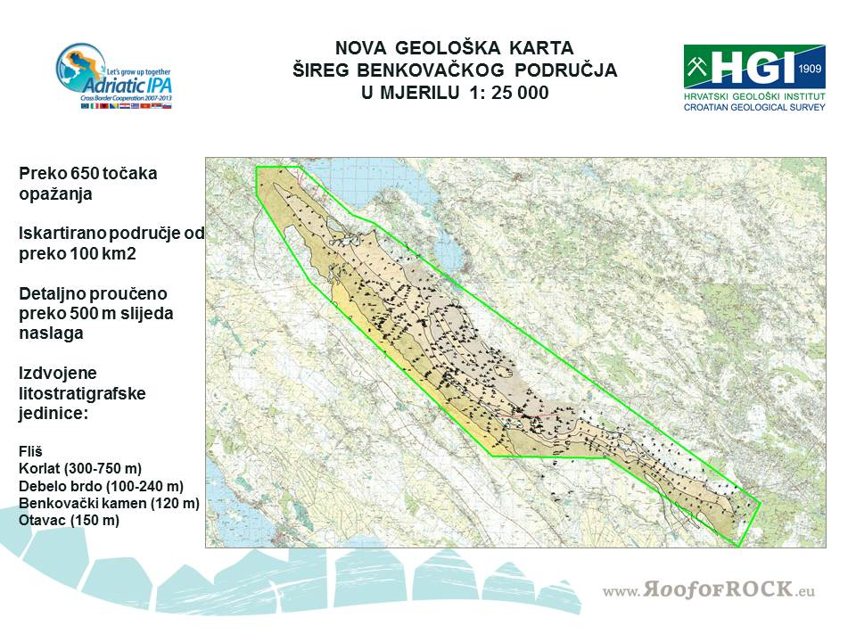 Nova litostratigrafska geološka karta Benkovačkog područja u mjerilu 1:25000 bila je temelj za izdvajanje potencijalnih i visokopotencijalnih poligona pločastih vapnenaca.