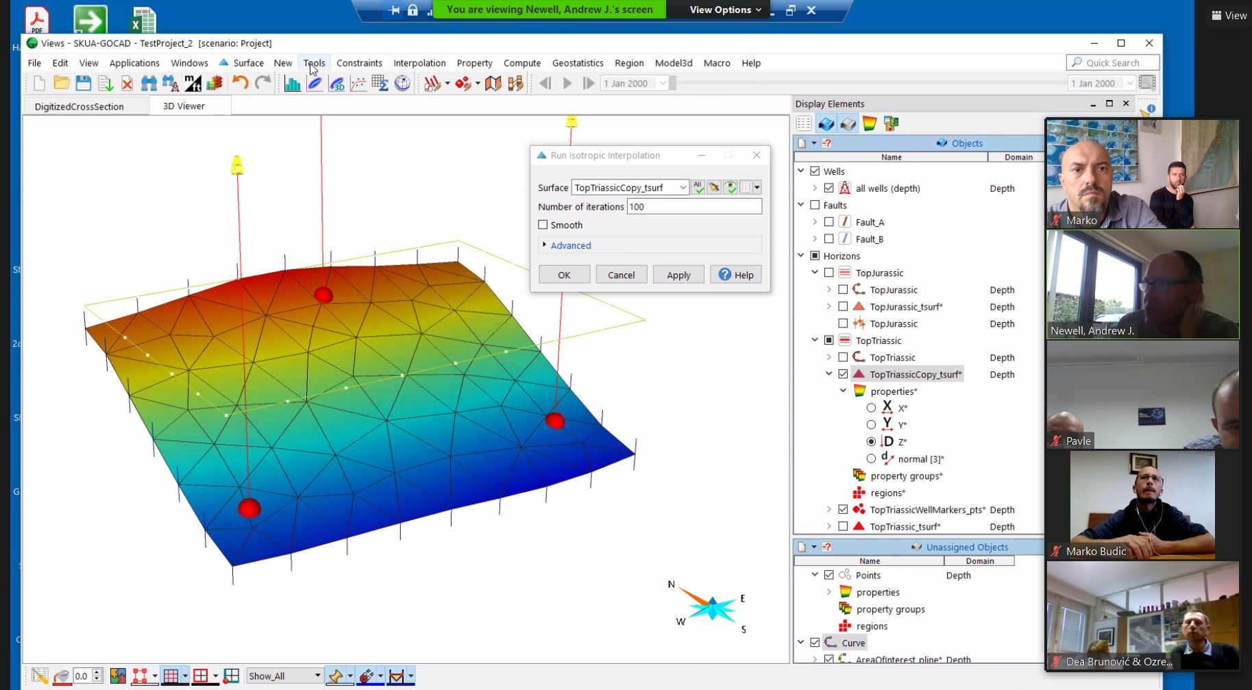 demonstracija modeliranja površine korištenjem SKUA-GOCAD softwarea