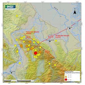 Geološka karta područja Petrinje i Siska s naglašenim glavnim rasjedima